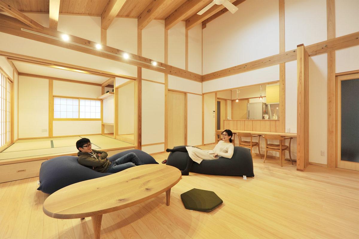 高天井で開放感のある平屋の家